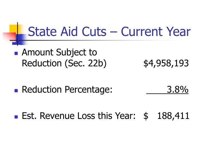 State Aid Cuts – Current Year