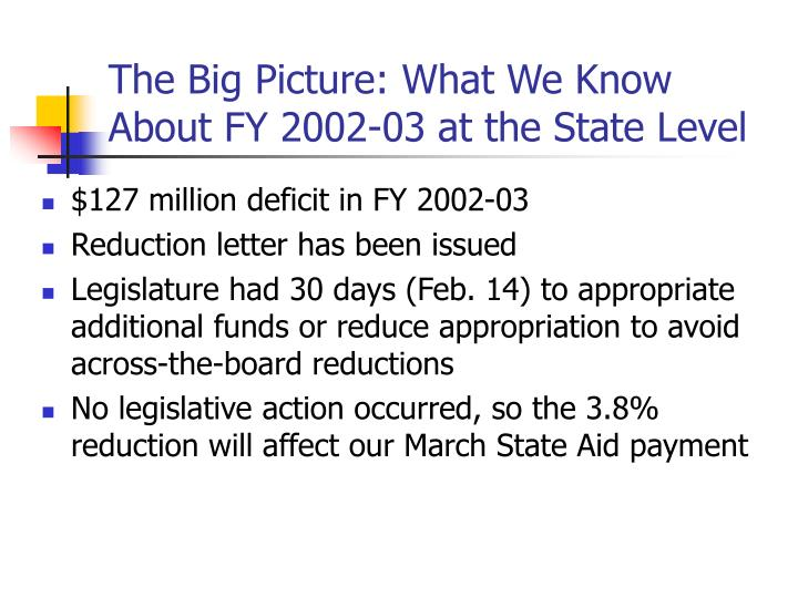 The big picture what we know about fy 2002 03 at the state level