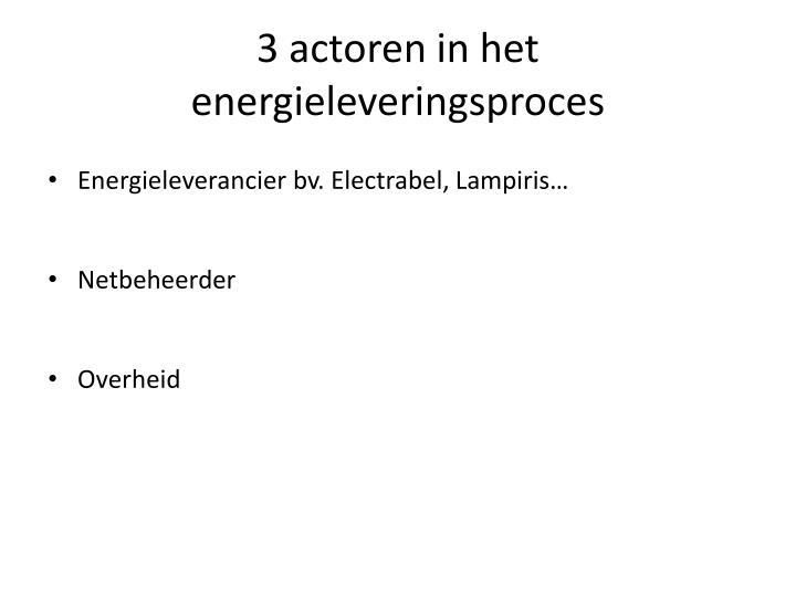 3 actoren in het energieleveringsproces