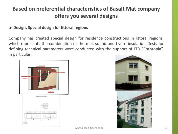 Based on preferential characteristics of Basalt Mat company offers you several designs