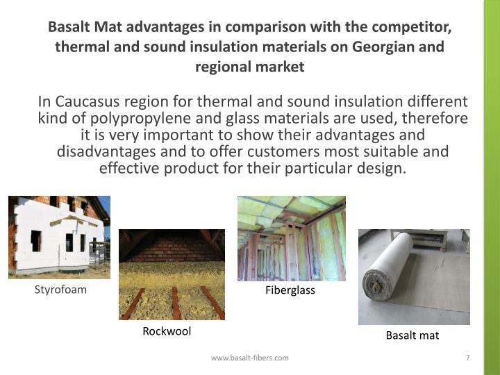 Basalt Mat advantages in comparison with the competitor, thermal and sound insulation materials on Georgian and regional market