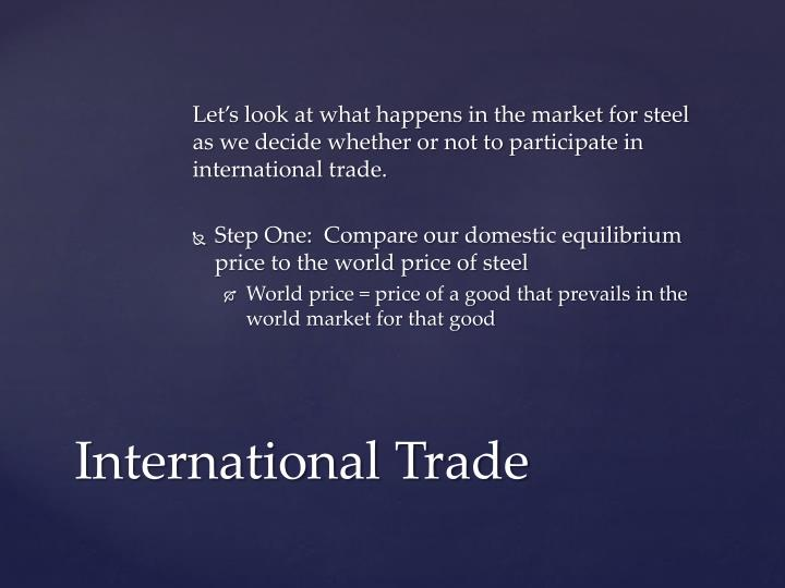 Let's look at what happens in the market for steel as we decide whether or not to participate in international trade.