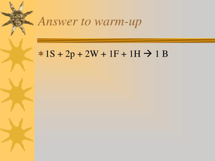 Answer to warm up