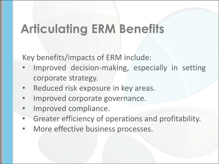 Articulating ERM Benefits