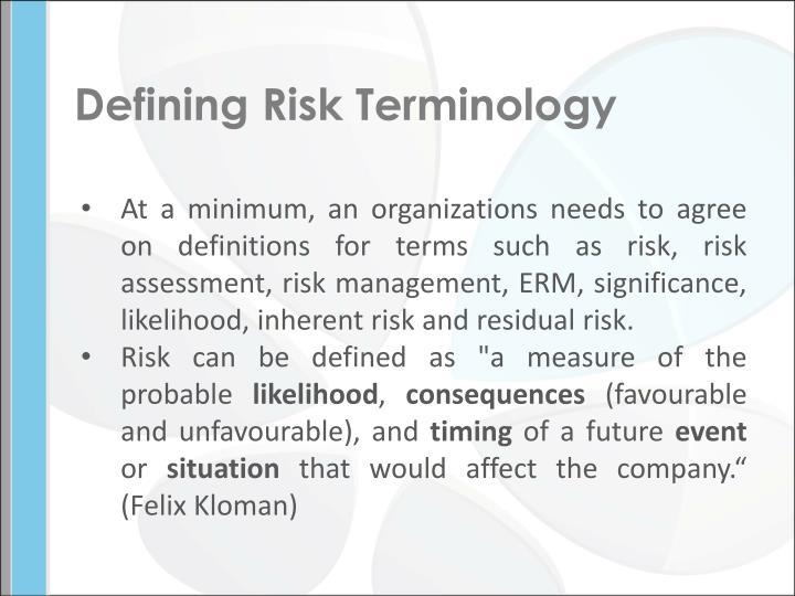 Defining Risk Terminology