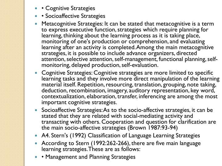 • Cognitive Strategies