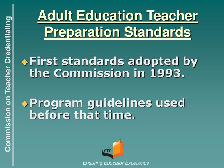 Adult education teacher preparation standards