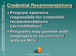 credential recommendations