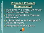 proposed program requirements