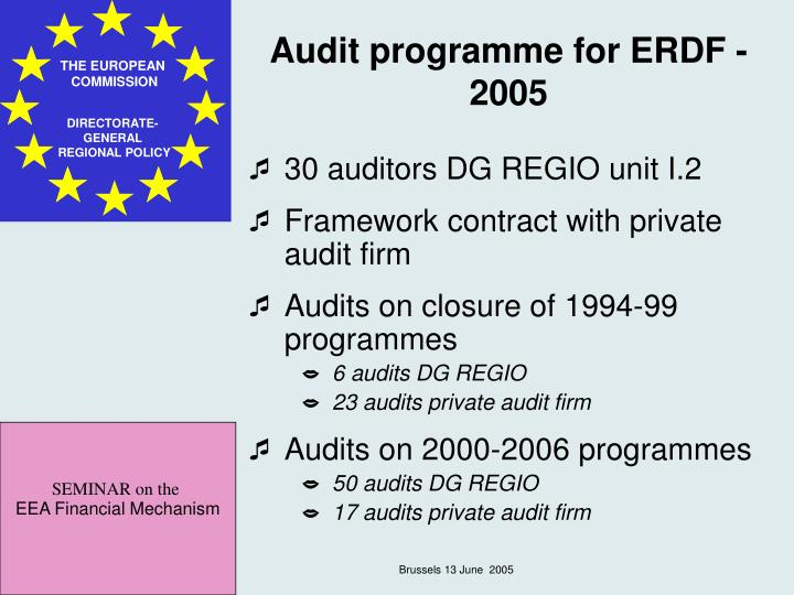 Audit programme for ERDF - 2005