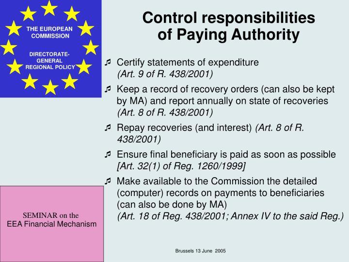 Control responsibilities