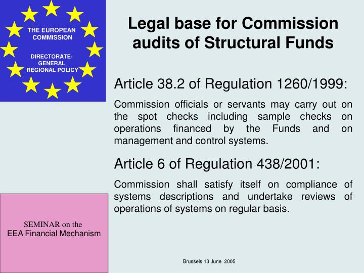 Legal base for Commission audits of Structural Funds