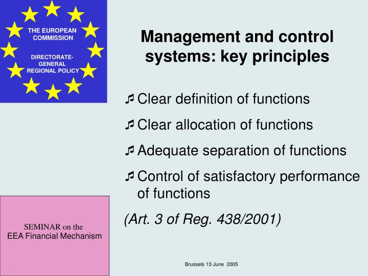 Management and control systems: key principles