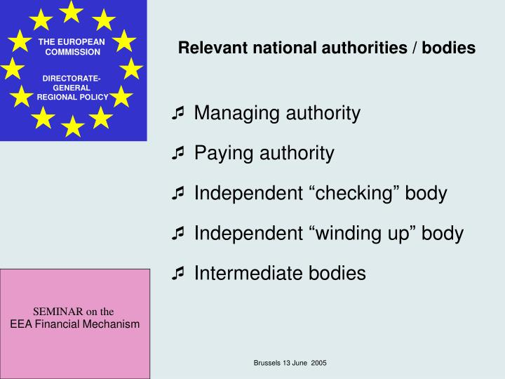 Relevant national authorities / bodies