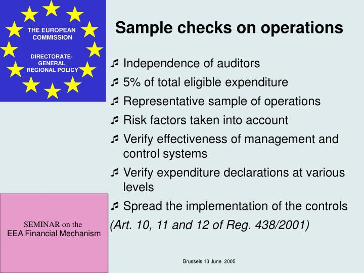 Sample checks on operations
