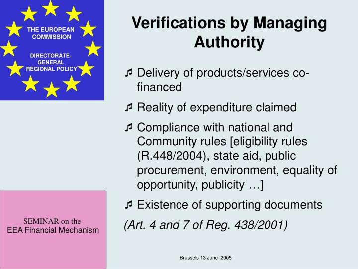 Verifications by Managing Authority