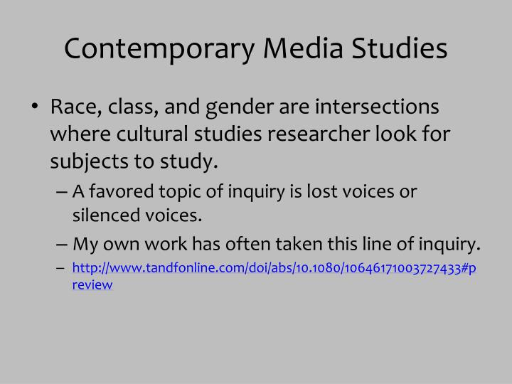 Contemporary Media Studies