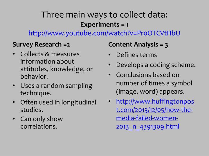Three main ways to collect data: