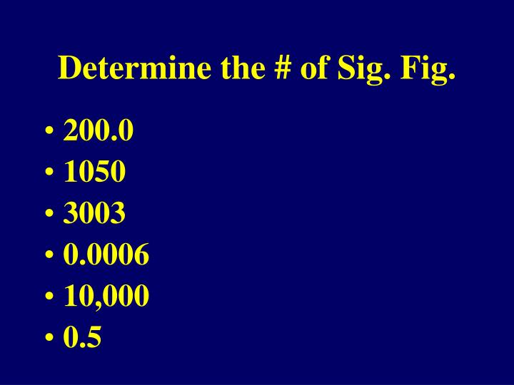 Determine the # of Sig. Fig.
