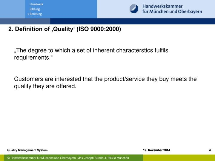 2. Definition of 'Quality' (