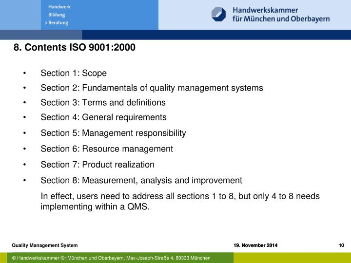 8. Contents ISO 9001:2000