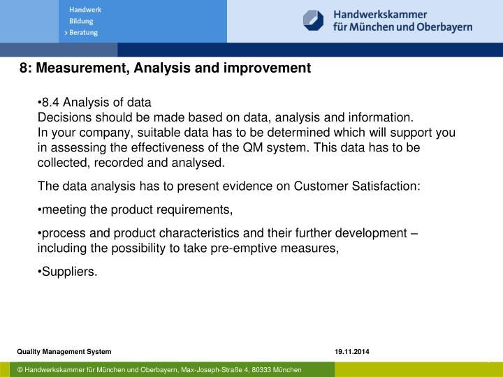 8.4 Analysis of data