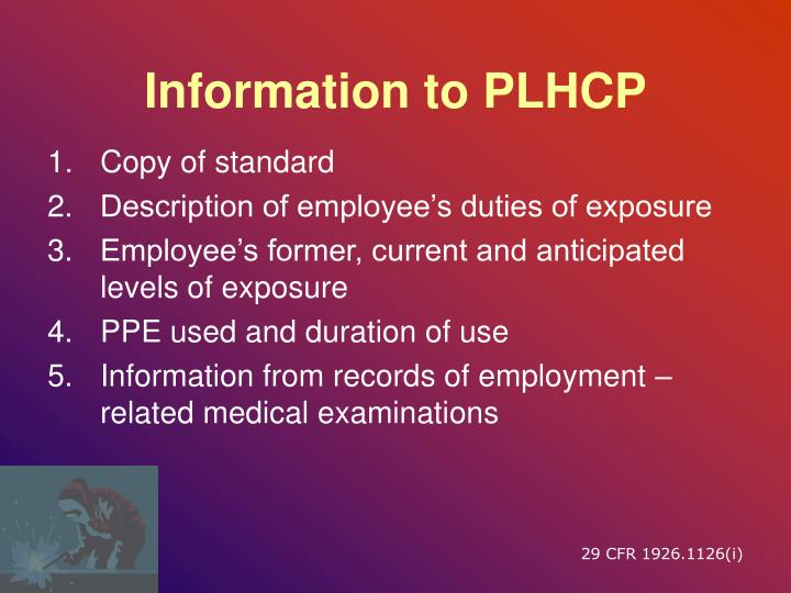 Information to PLHCP