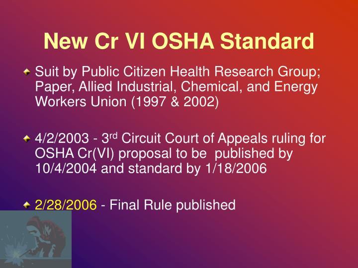 New Cr VI OSHA Standard
