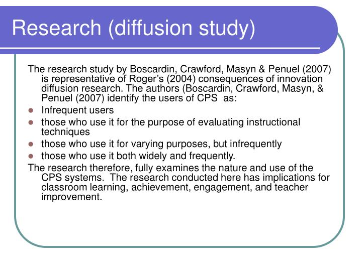 Research (diffusion study)