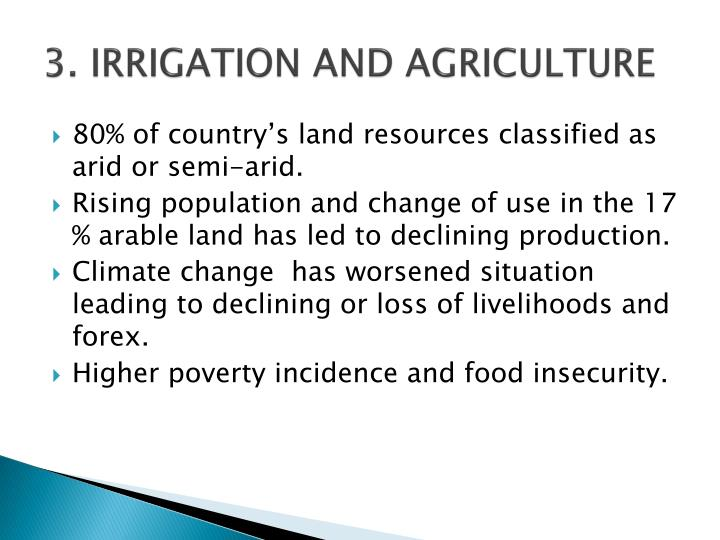 3. IRRIGATION AND AGRICULTURE