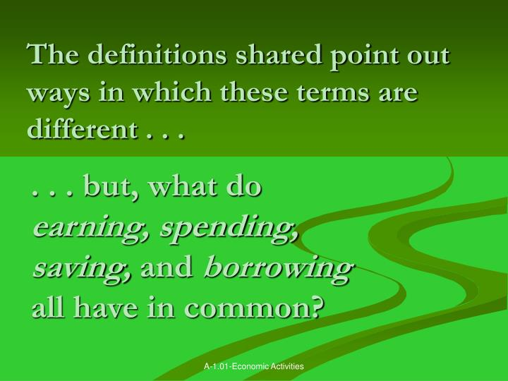 The definitions shared point out ways in which these terms are different . . .