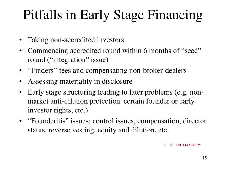 Pitfalls in Early Stage Financing