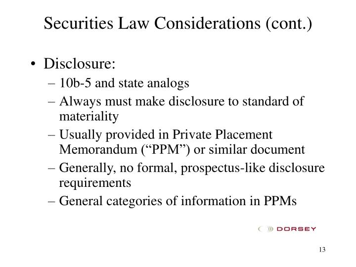 Securities Law Considerations (cont.)