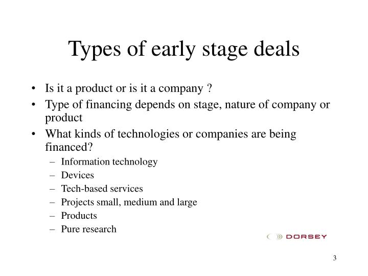 Types of early stage deals