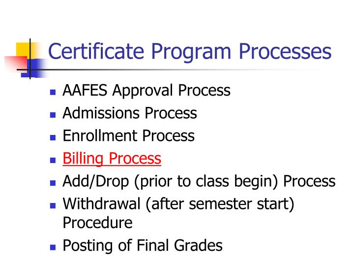 Certificate Program Processes