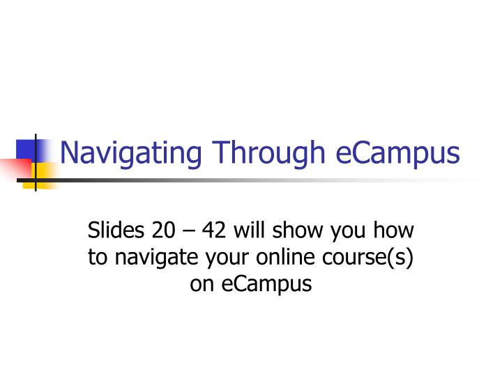 Navigating Through eCampus