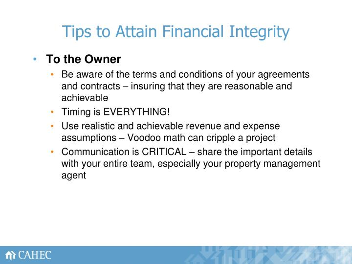 Tips to Attain Financial Integrity