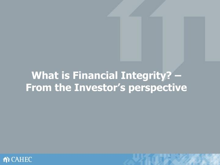 What is Financial Integrity? – From the Investor's perspective