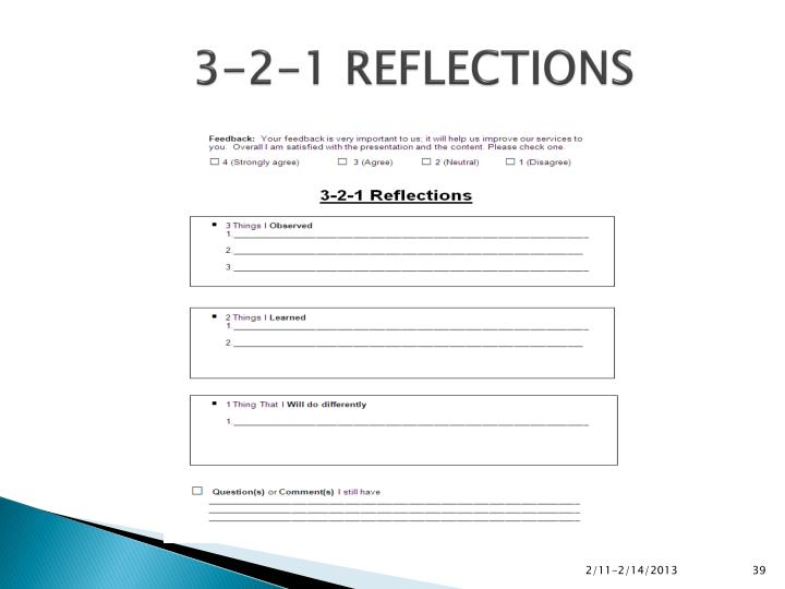 3-2-1 REFLECTIONS
