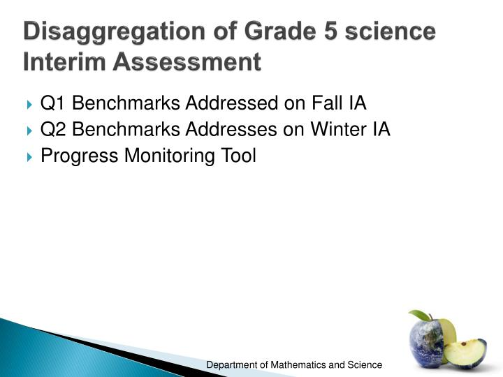 Disaggregation of Grade 5 science Interim Assessment