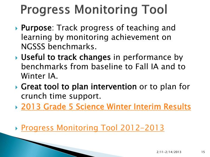 Progress Monitoring Tool