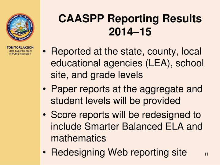 CAASPP Reporting Results