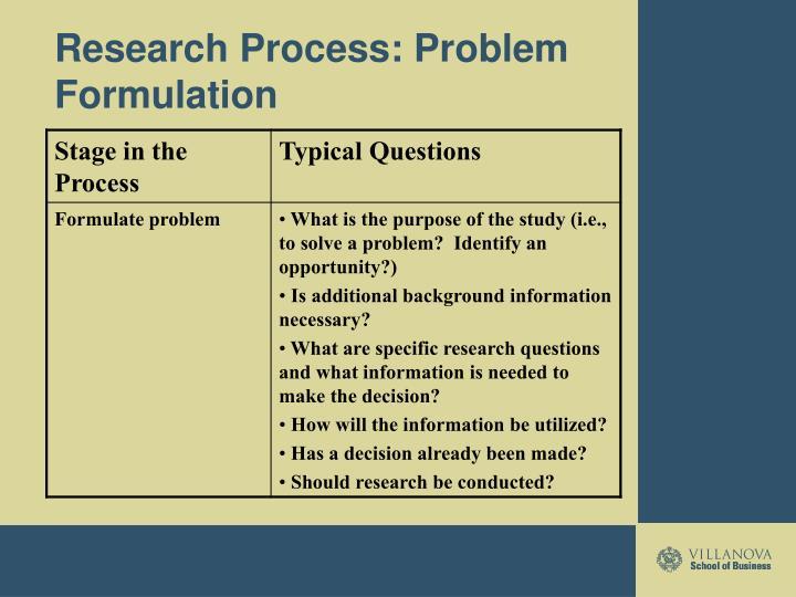 Research Process: Problem Formulation