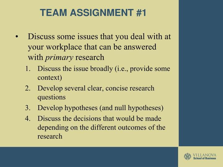 TEAM ASSIGNMENT #1