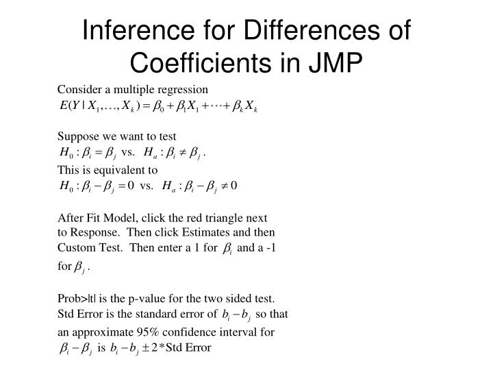 Inference for Differences of Coefficients in JMP