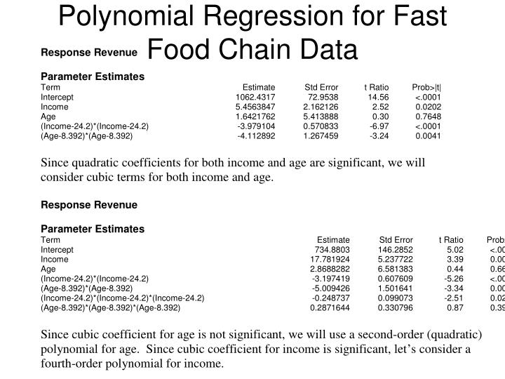 Polynomial Regression for Fast Food Chain Data