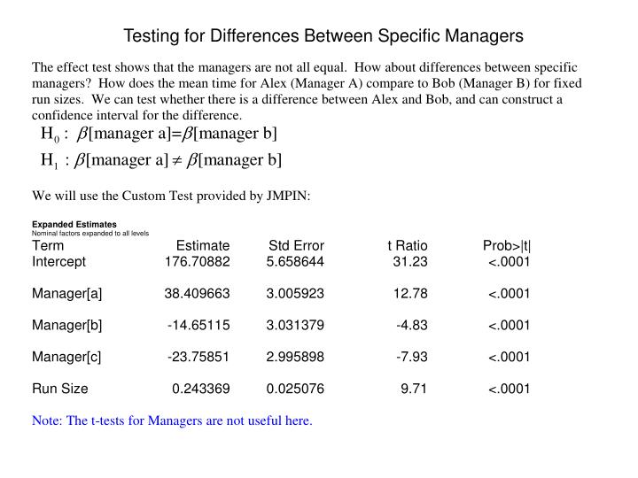 Testing for Differences Between Specific Managers
