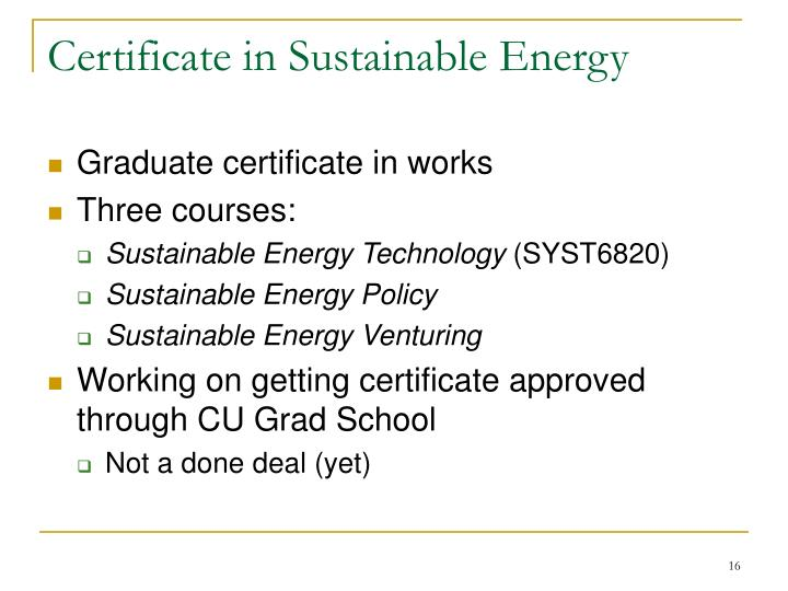 Certificate in Sustainable Energy