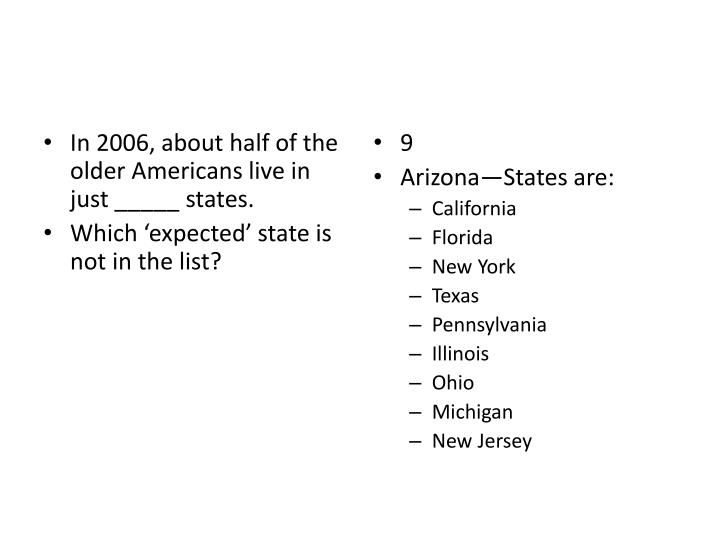 In 2006, about half of the older Americans live in just _____ states.