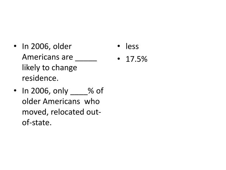 In 2006, older Americans are _____ likely to change residence.
